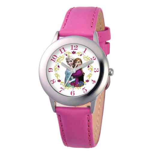 W001793: STNLSSTL Girls Disney Frozen Elsa Anna Watch Pnk Leath
