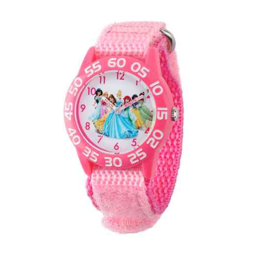 W001990: Plastic Girls Disney Princess Watch Pnk Nylon Strap