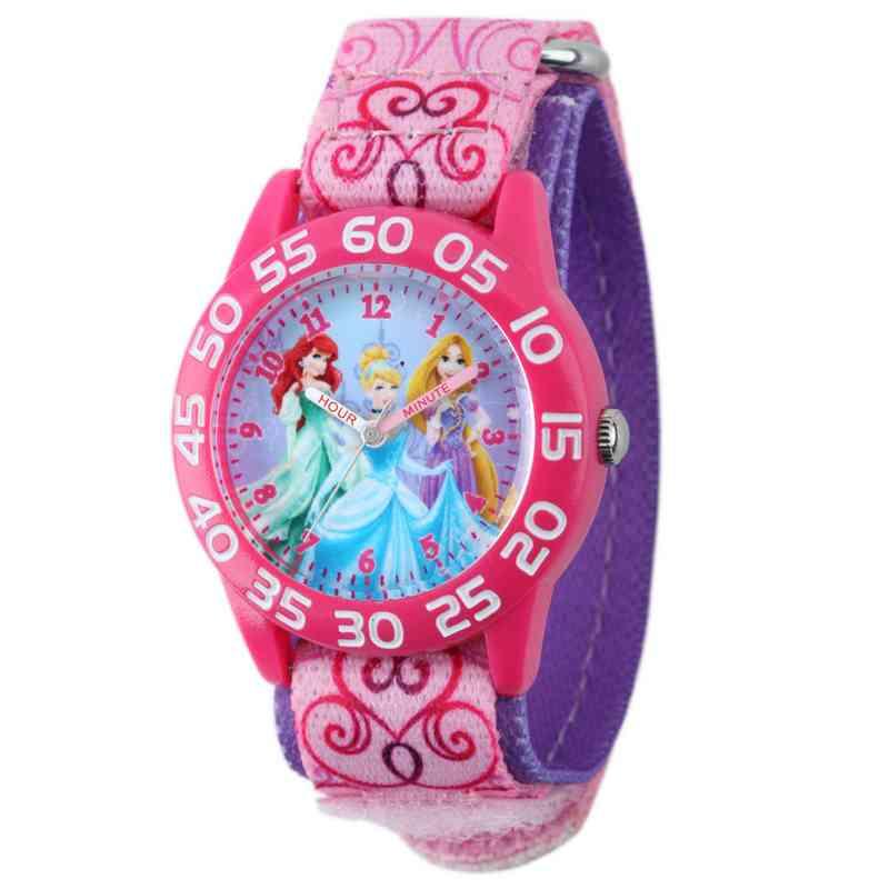 W001992: Plastic Girls Disney Princess Watch Pnk Prntd Nylon
