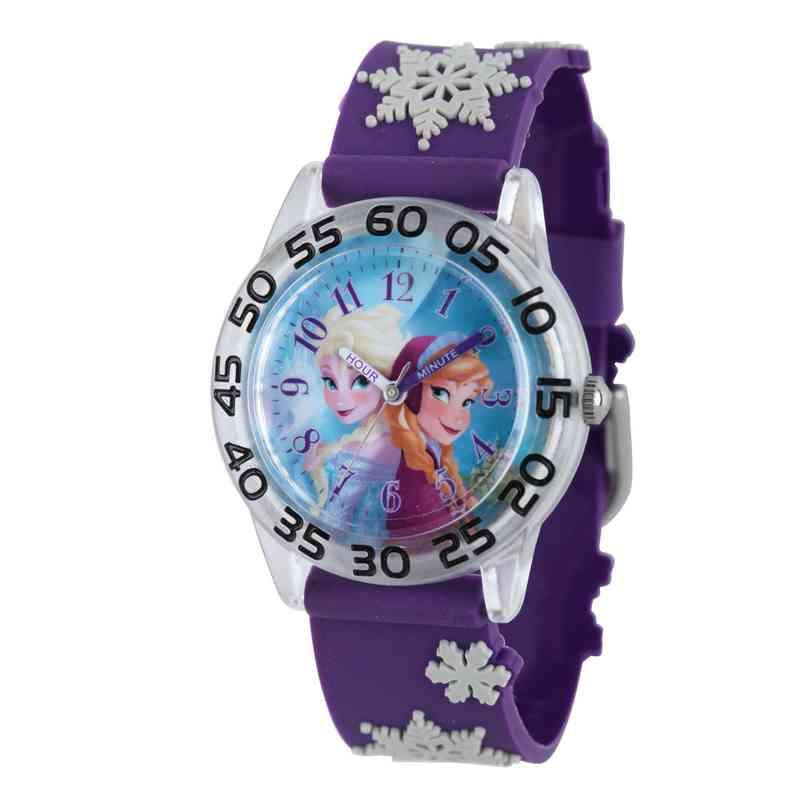 W002033: Plastic Gir Disney Froz Anna Elsa Watch Purple 3D Strap