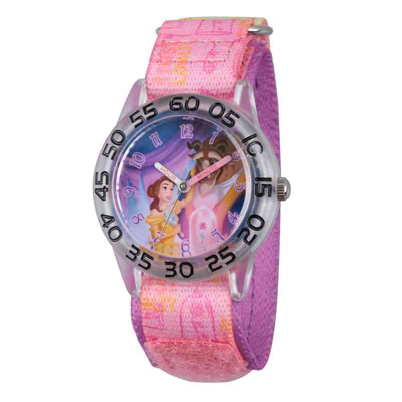 W002928: Plastic Girls Disney BelleBeast Clear Pink Watch Nylon