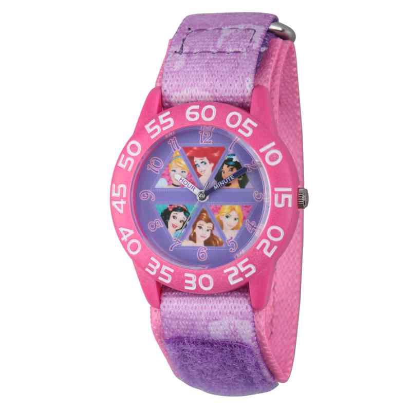 W002949: Plastic GirlsDisney Multi Prn Pink/Purple Nylon Watch
