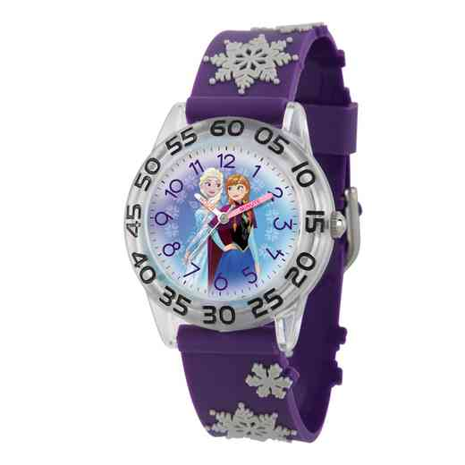 W002985: Plastic Gir Dis Froz ElsaAnna Watch 3D Snwflk PurpStrap