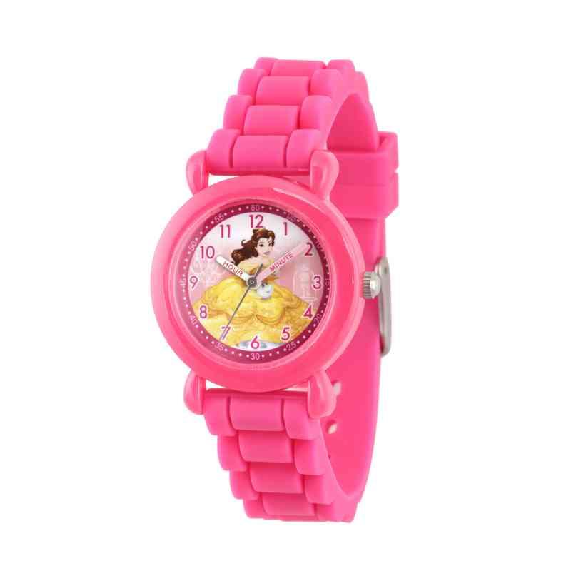 WDS000146: Plastic Girls Disney Belle Watch Pnk Sil Strap