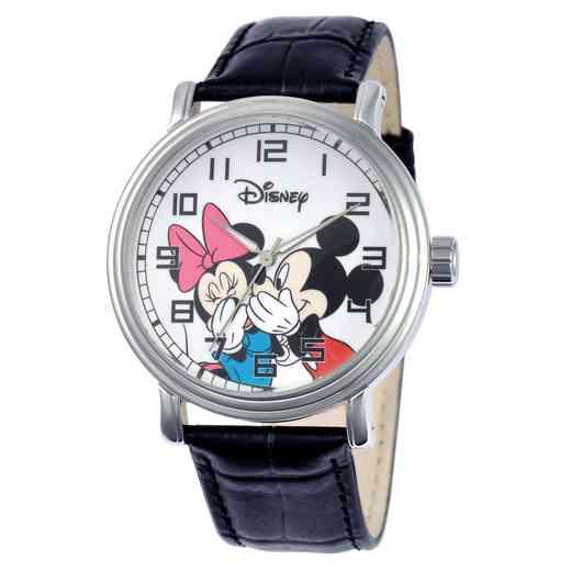 W000857: Alloy Mickey Minnie Men's Vintage Watch Blk Lea Strap