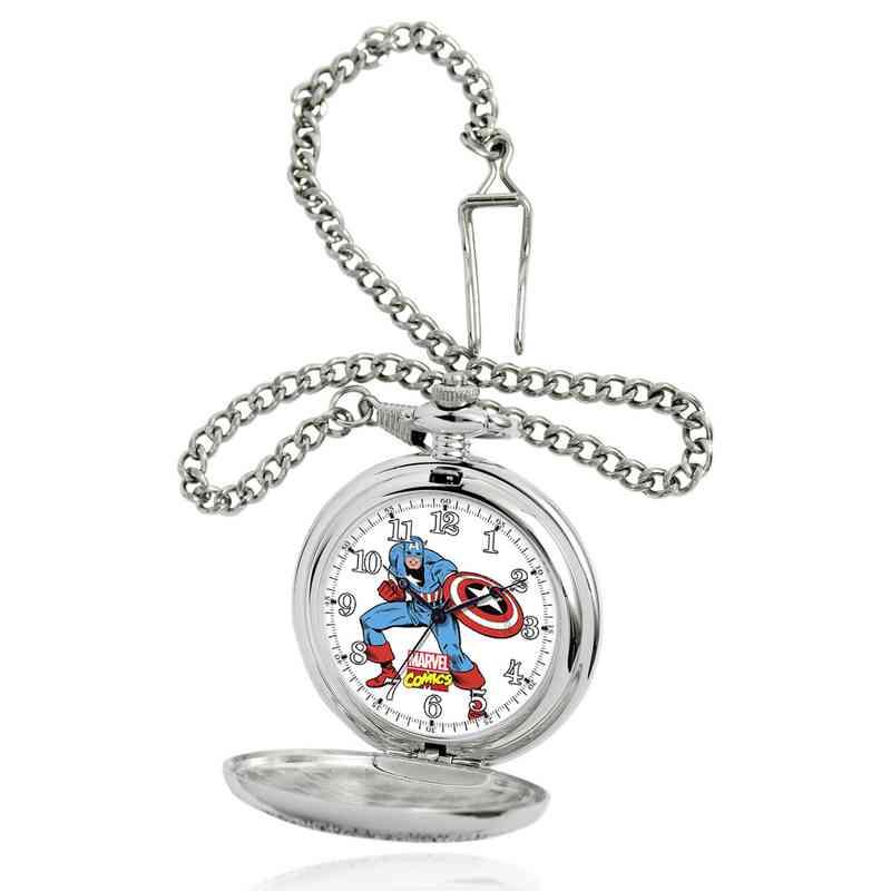 W001741: Silver Alloy Captain America Men's Pocket Watch