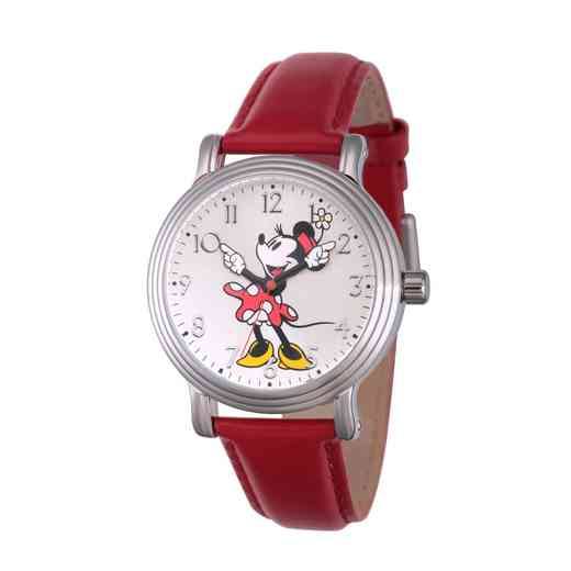 W002760: Silver Vintg Alloy Minnie Womens Watch Wh Leather Strap