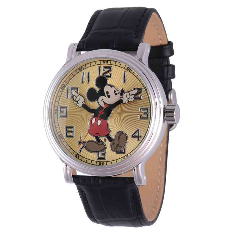 WDS000077: Silver Vntg Alloy DisneyMickeyMens Watch Blk Lea Strap