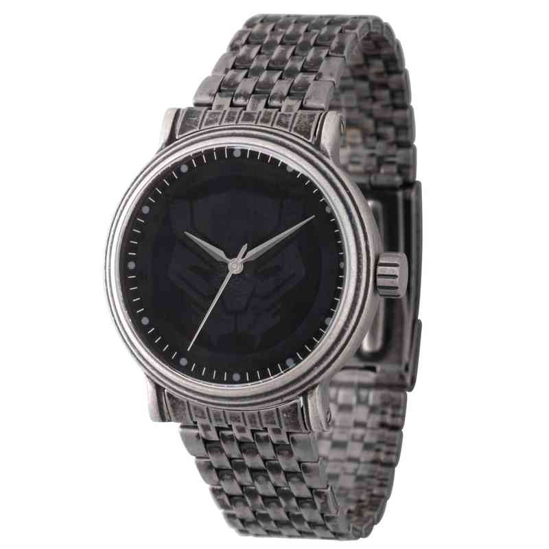 WMA000204: Sil Alloy Blk Pnthr Mens Watch Antq Stnls Steel Brac