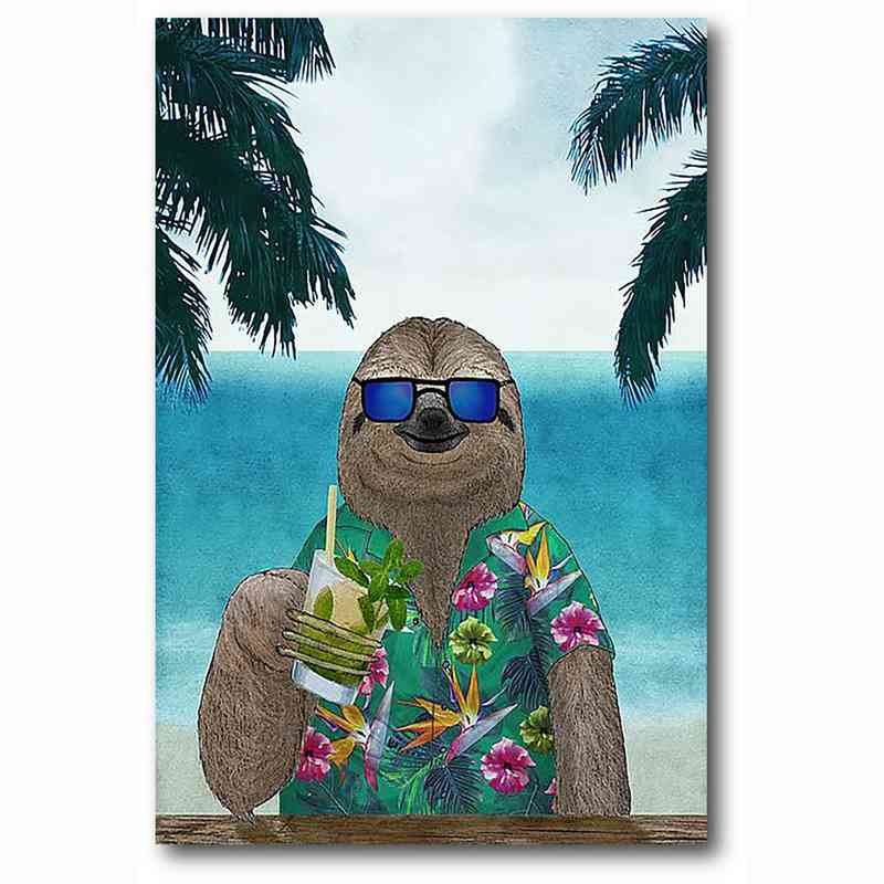 WEB-MV356-12x18: Sloth on Summer Holidays , 12x18