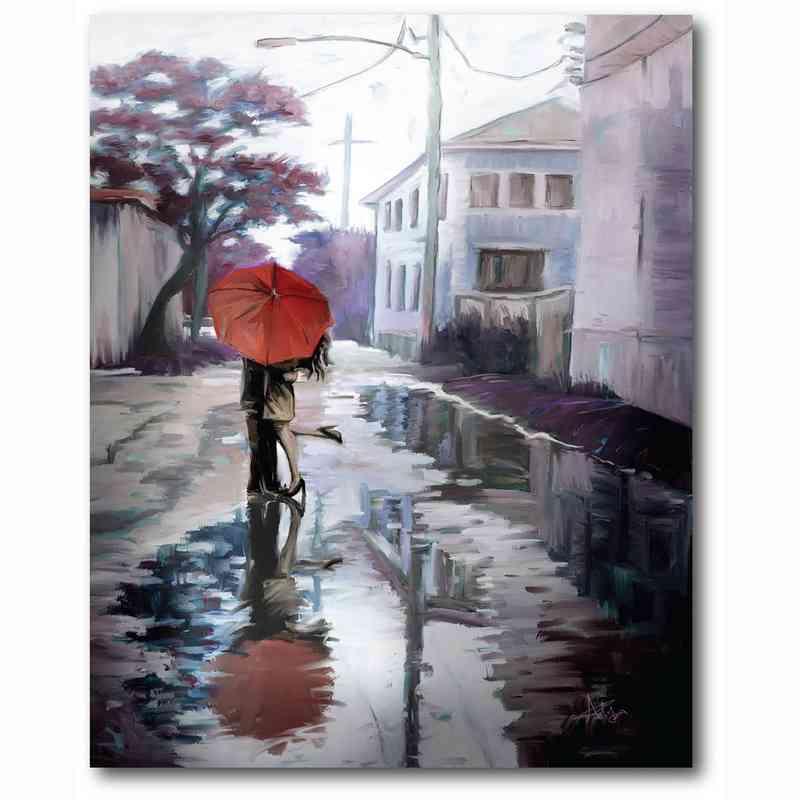 WEB-MV394-18X24: Romance in the Rain IV , 18x24