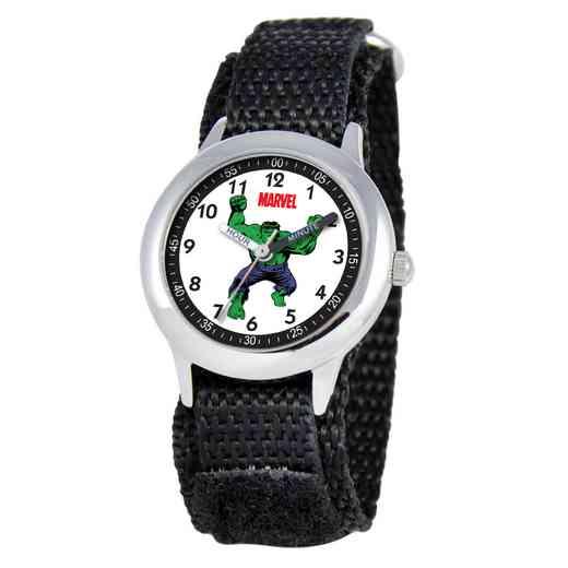 W000127: STNLS STL Marvel Boys Mad Hulk Watch Black Nylon Strap