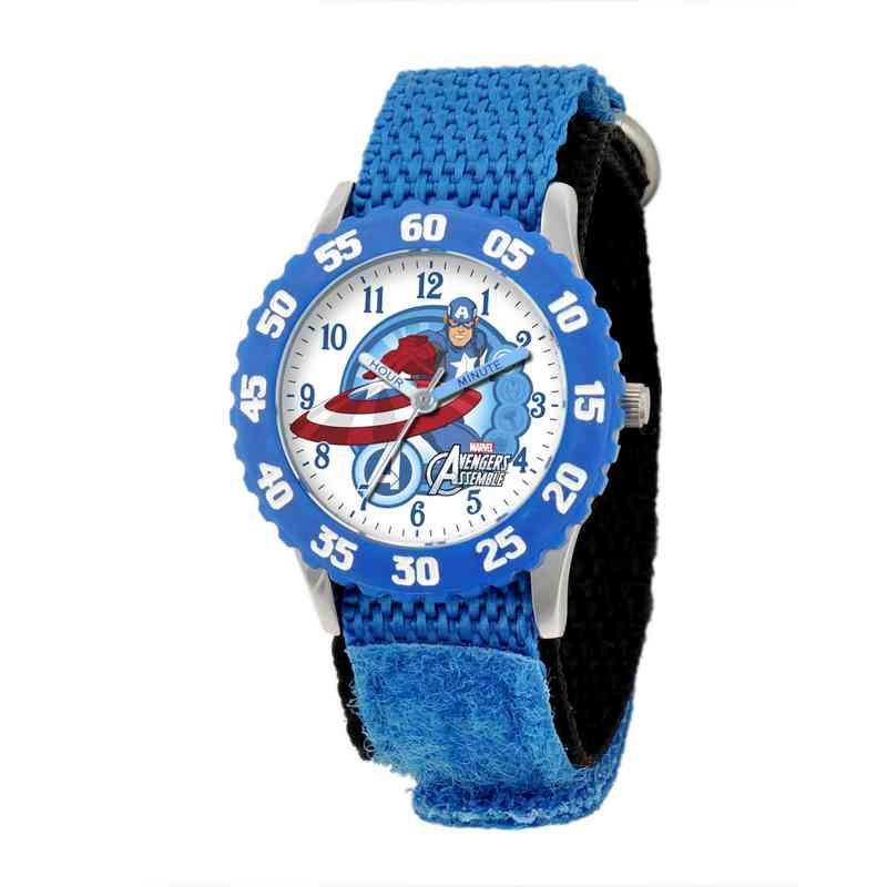 W001538: STNLS STL Marvel Boys Captn Amer Watch Blu Ny Strap