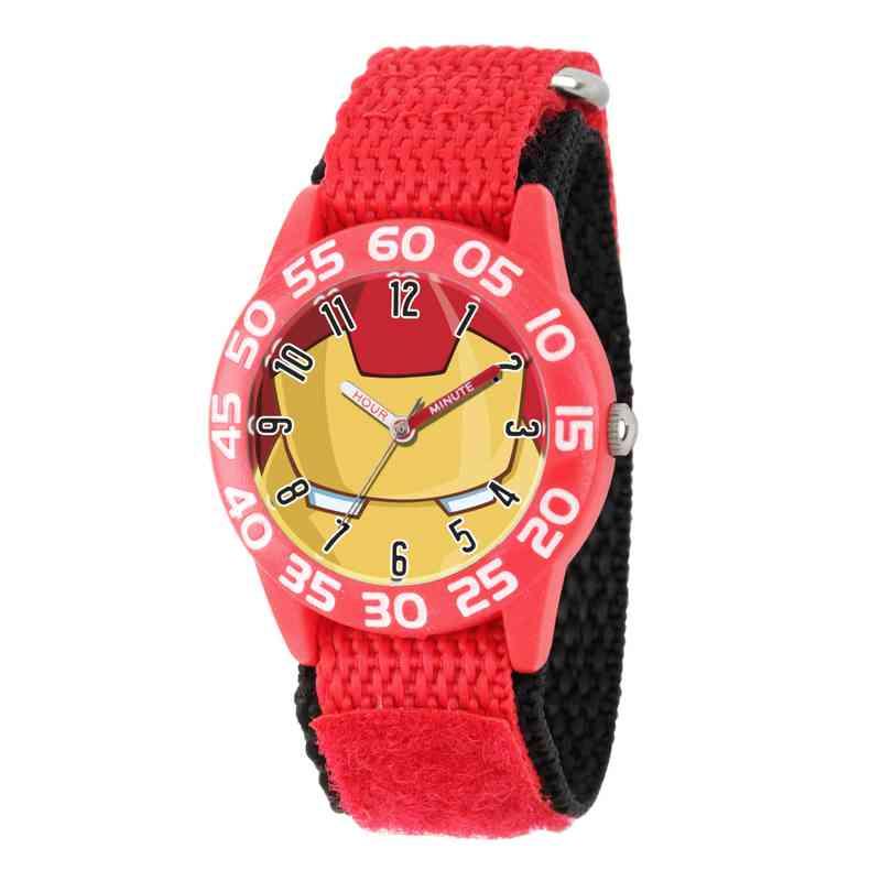 W003247: Plastic Marvel Boys Iron Man Red Watch Nylon Strap