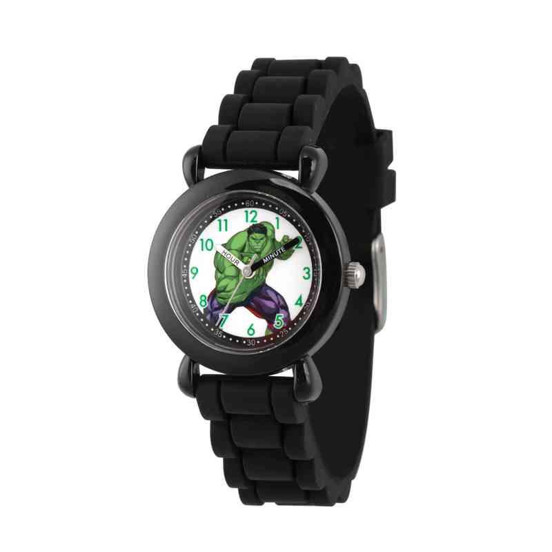 WMA000029: Plastic Marvel Boys Hulk Angry Watch Blk Sil Strap