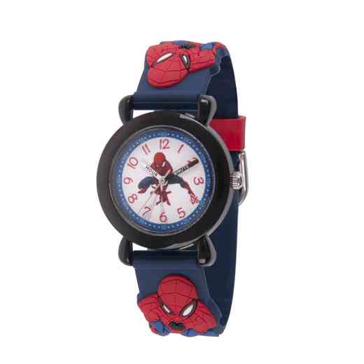 WMA000162: Plastic Marvel SpdrM Web Watch Red/Navy 3D Strap