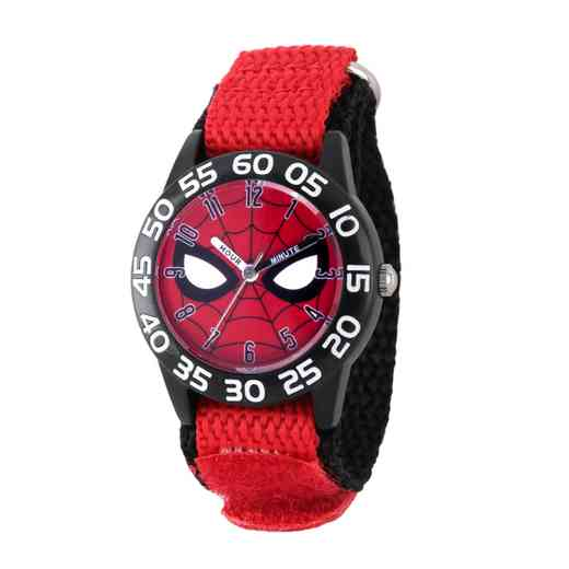 WMA000186: Plastic Marvel Boys SpdrM FaceMask Watch Red/Blk NyStrp