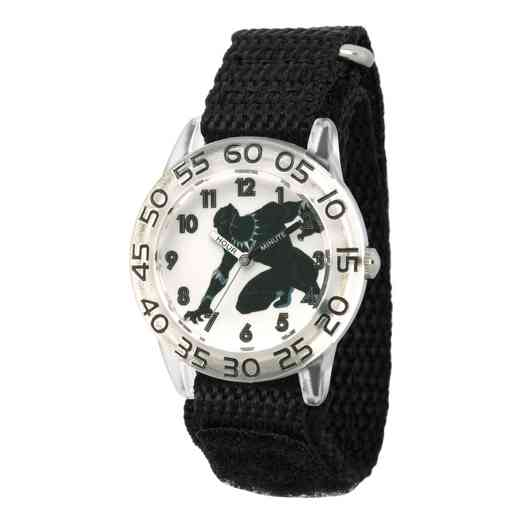 WMA000228: Plastic Marvel Boys Clear Blk Pnthr Watch Blk Strap