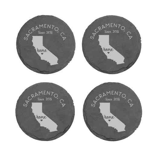 L11062153CAPGS: Home State-PGS Slate Rnd Csters- S/4-CA