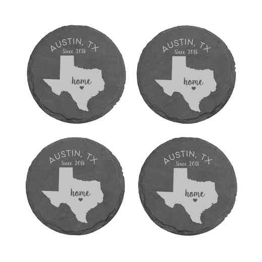 L11062153TXPGS: Home State-PGS Slate Rnd Csters- S/4-TX
