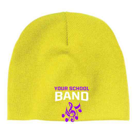 Band Embroidered Knit Beanie Cap