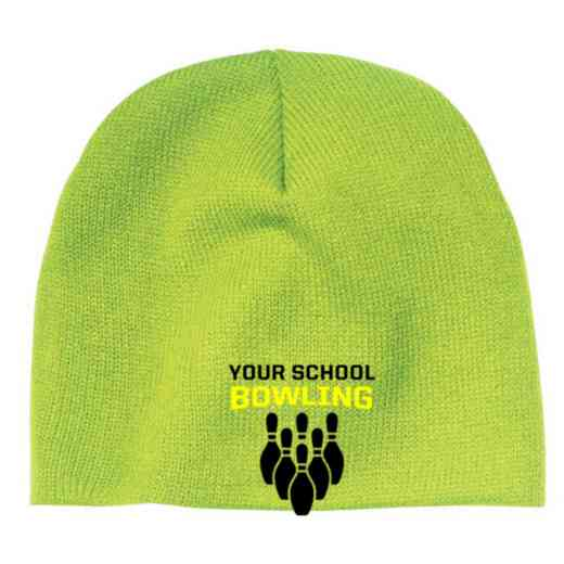 Bowling Embroidered Knit Beanie Cap