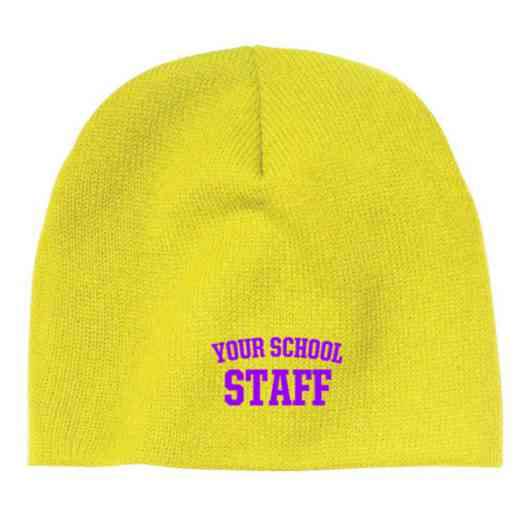 Staff Embroidered Knit Beanie Cap