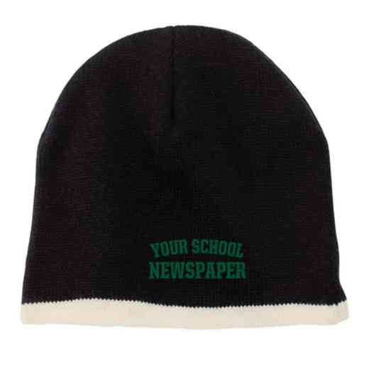Newspaper Embroidered Knit Beanie Cap