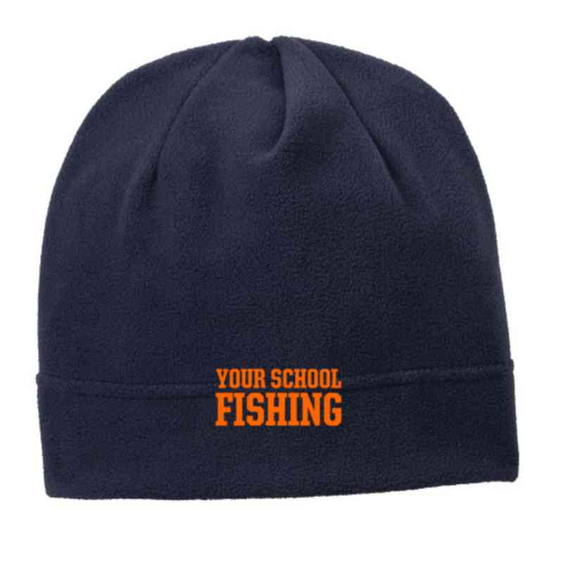 C900-FISH-OSFA: Fishing Embroidered Stretch Fleece Beanie