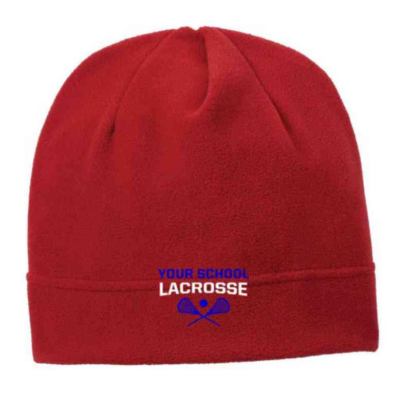 C900-LAC-OSFA: Lacrosse Embroidered Stretch Fleece Beanie