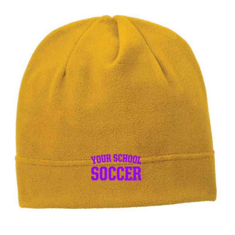 C900-SOCCER-OSFA: Soccer Embroidered Stretch Fleece Beanie