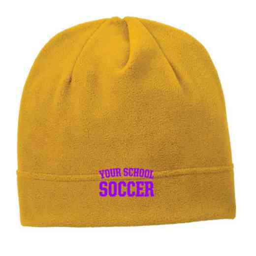 C900-SOCCER-OSFA: Soccer Embroidered Stretch Fleece Beanie