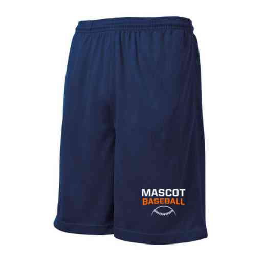 Baseball Embroidered Sport-Tek 9 inch Mesh Pocket Short