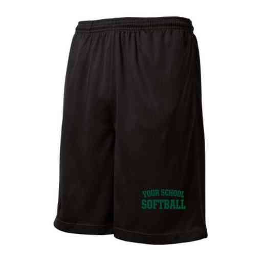 Softball Embroidered Sport-Tek 9 inch Mesh Pocket Short
