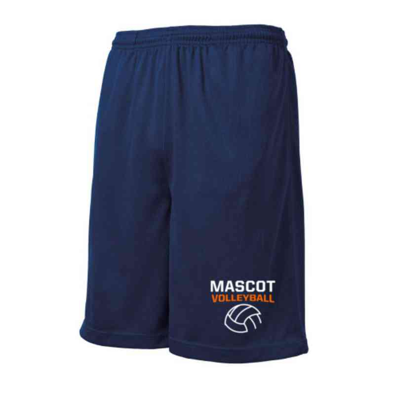 Volleyball  Embroidered Sport-Tek 9 inch Mesh Pocket Short