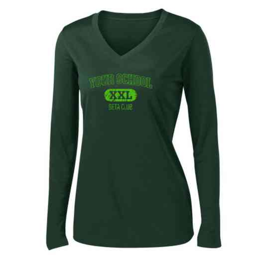 Beta Club Womens Sport-Tek Long Sleeve V-Neck Competitor T-Shirt