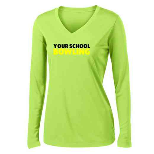 Bowling Womens Sport-Tek Long Sleeve V-Neck Competitor T-Shirt