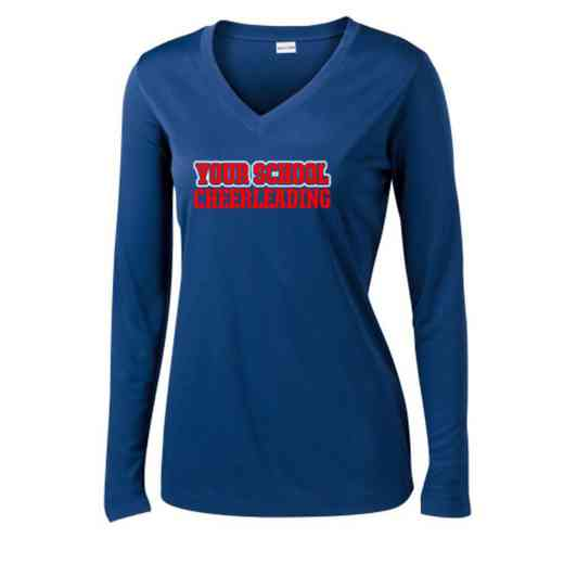 Cheerleading Womens Sport-Tek Long Sleeve V-Neck Competitor T-Shirt
