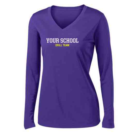 Drill Team Womens Sport-Tek Long Sleeve V-Neck Competitor T-Shirt