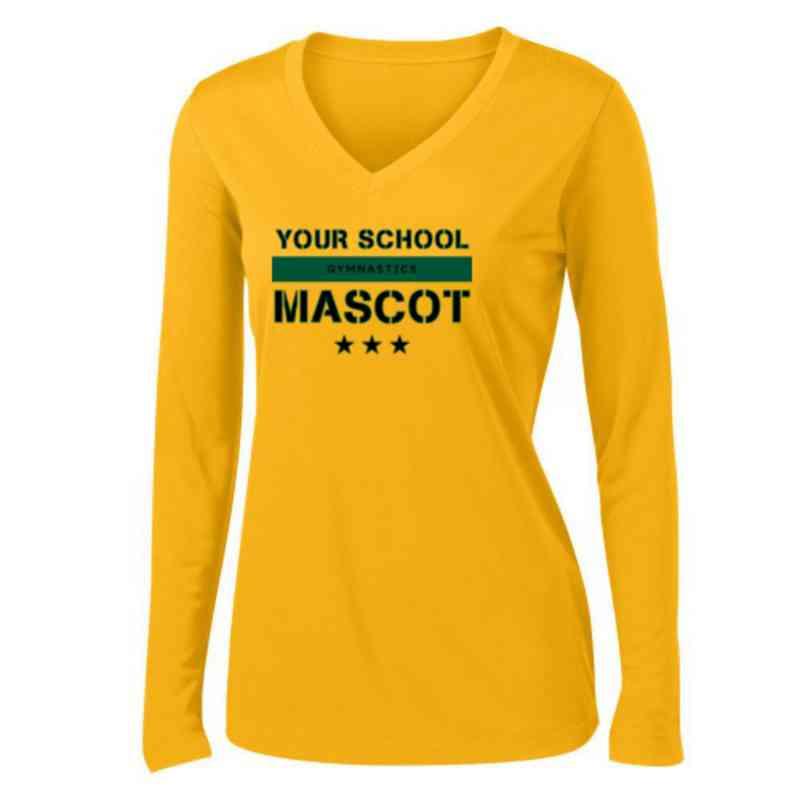 Gymnastics Womens Sport-Tek Long Sleeve V-Neck Competitor T-Shirt