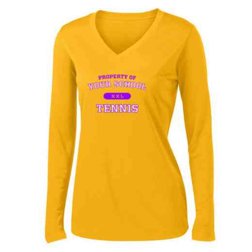 Tennis Womens Sport-Tek Long Sleeve V-Neck Competitor T-Shirt