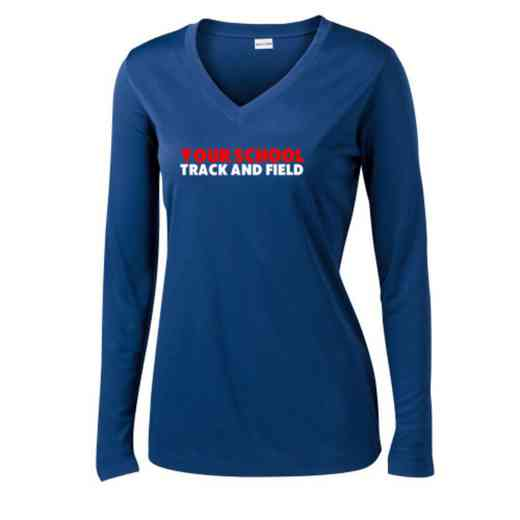 Track and Field Womens Sport-Tek Long Sleeve V-Neck Competitor T-Shirt