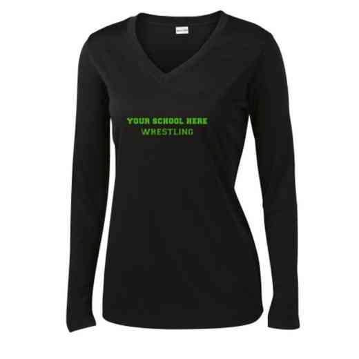 Wrestling Womens Sport-Tek Long Sleeve V-Neck Competitor T-Shirt