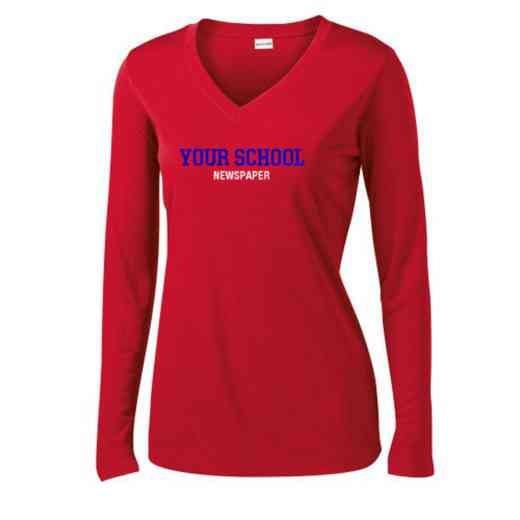 Newspaper Womens Sport-Tek Long Sleeve V-Neck Competitor T-Shirt