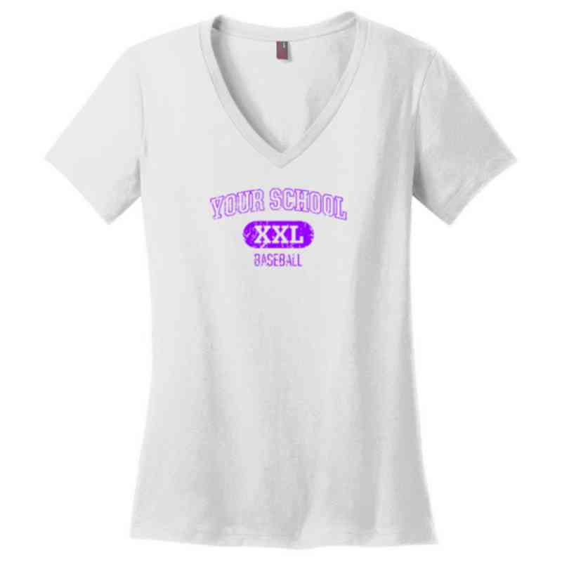 Baseball Womens Cotton V-Neck T-shirt