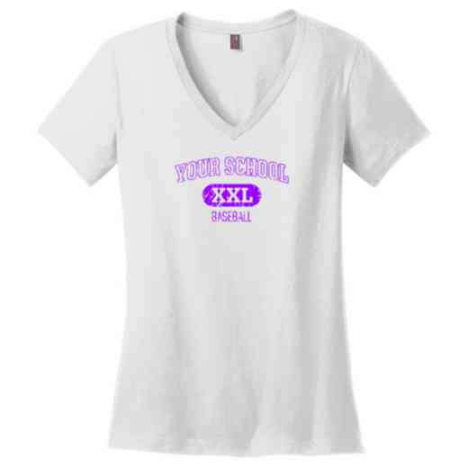 Baseball Womens Cotton V-Neck T-shirt