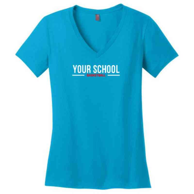 Basketball Womens Cotton V-Neck T-shirt