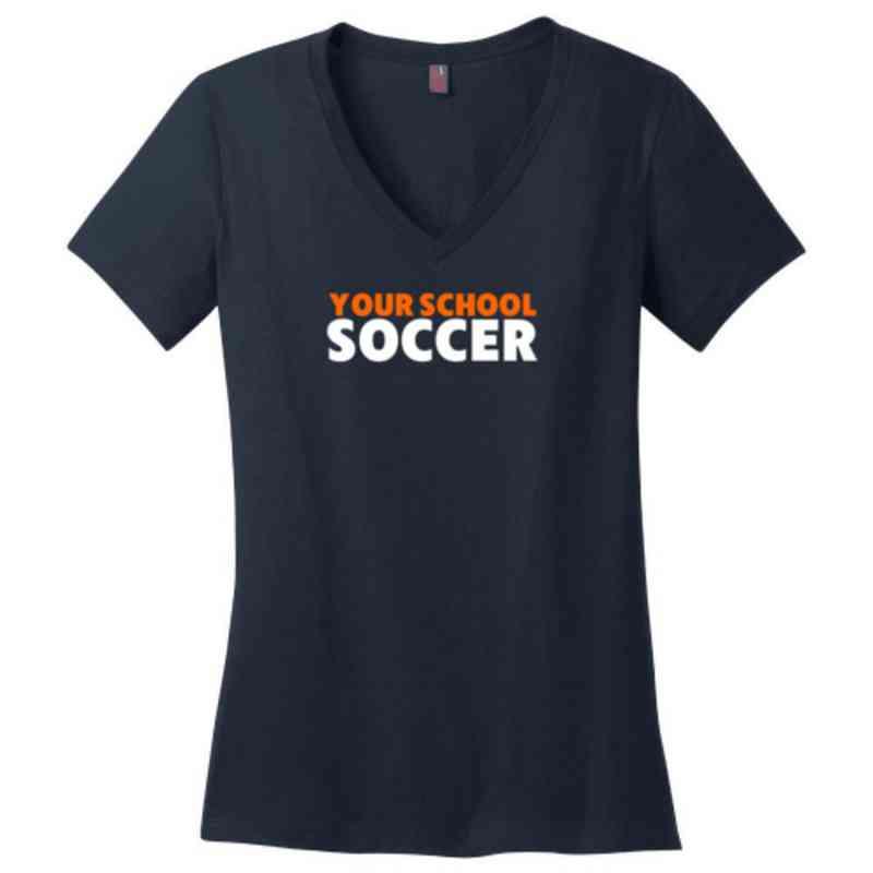 Soccer Womens Cotton V-Neck T-shirt