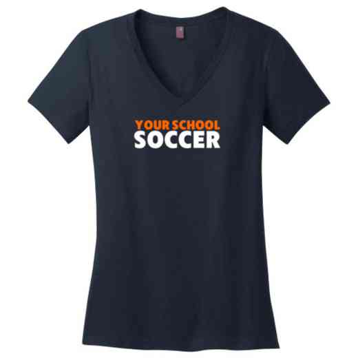 Soccer Womens Cotton V-Neck T-shirt