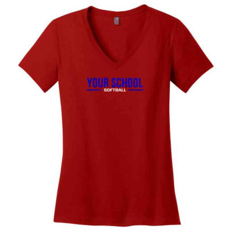 Softball Womens Cotton V-Neck T-shirt